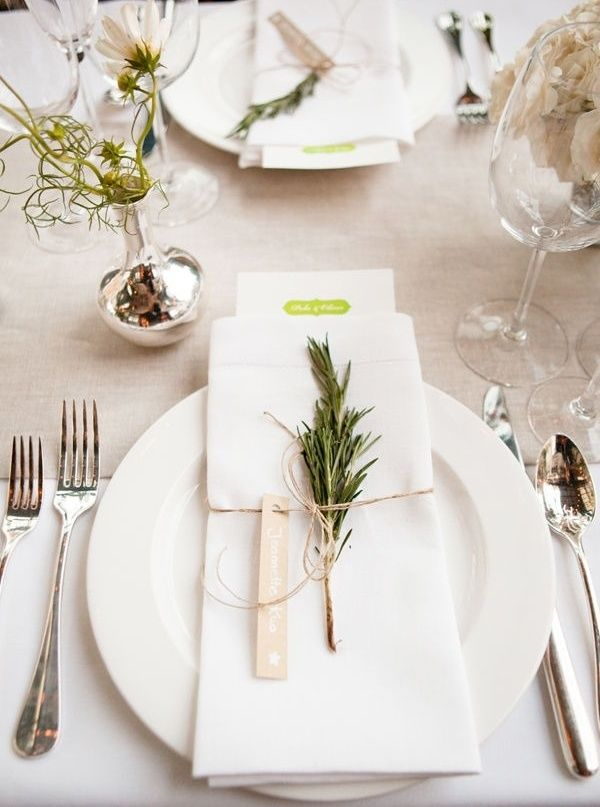 A sprig of fresh herbs tied with twine not only acts as a natural perfume, but also a simple & clean touch to your casual dining experience. #birdrockpaperco