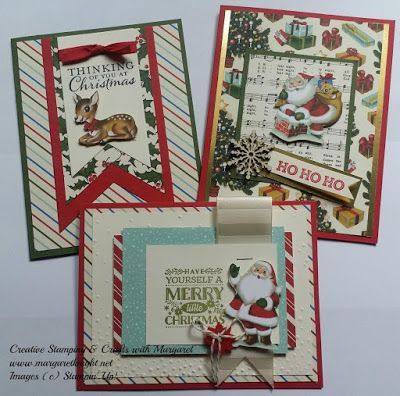 Vintage Theme Christmas Cards highlighting Stampin' Up! Home for Christmas Designer Series Paper