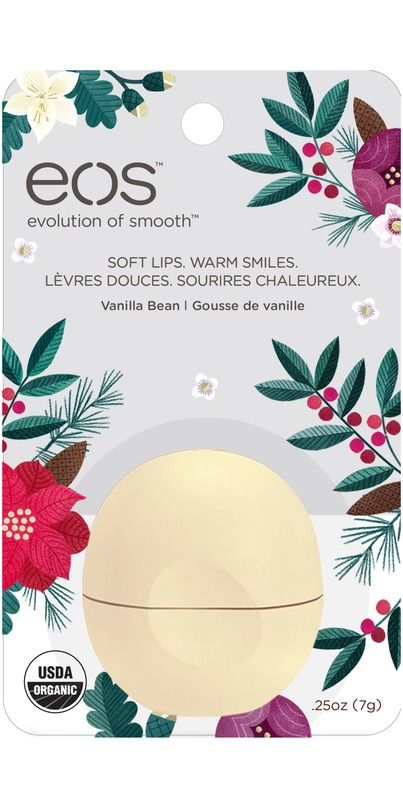 The EOS Limited Edition Holiday Vanilla Bean lip balm is packed with antioxidant-rich vitamin E, soo