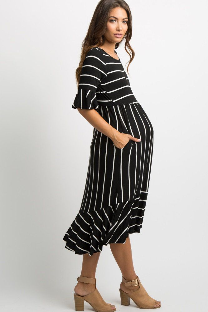 7240ec6c8855 Black Striped Ruffle Trim Midi Dress A striped print maternity midi dress  featuring cute ruffle trim on short sleeves and hemline, a cinched elastic  ...