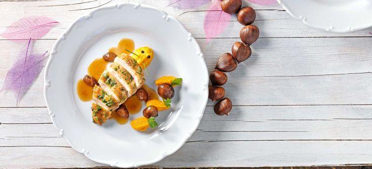 Hühnerbrust mit Maroni, Karottenpüree und Petersilie