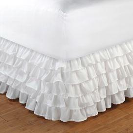 """Multi-Ruffle (White) 15"""" Bedskirt"""