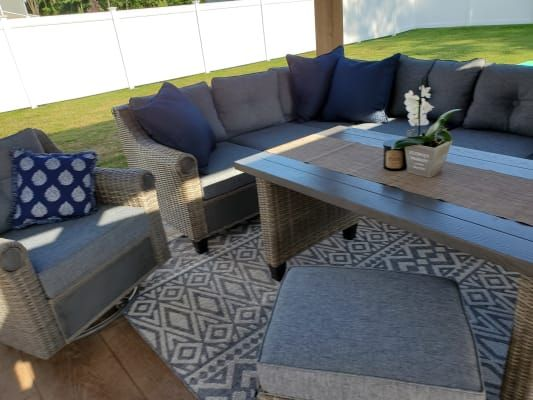 Broyhill Patio 5 Piece Cushioned Sectional All Weather Wicker Set Big Lots In 2020 Outdoor Sectional Outdoor Sectional Sofa Outdoor Decor