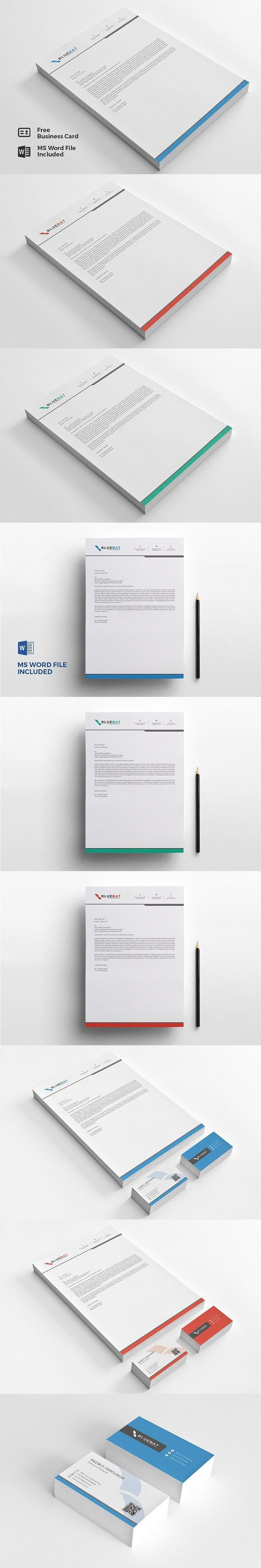 Letterhead Pad & Free Business Card. Stationery Templates
