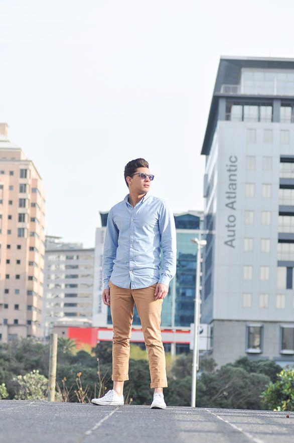 Denim in shirt and chino pants perfect for day or night on the Cape Town Fashion scene