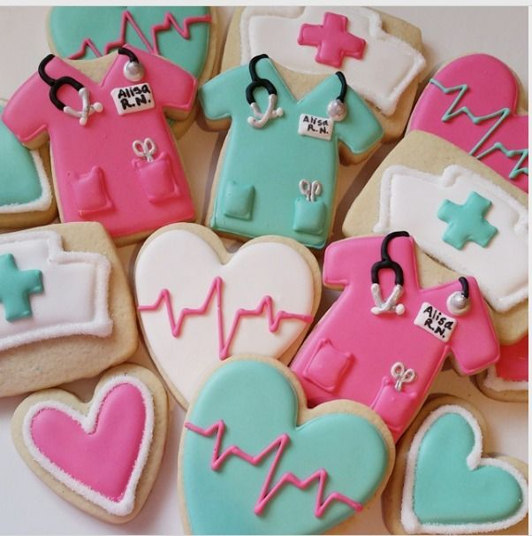 "Margaret Rettig Nelson on Instagram: ""Nurse cookies for a family friend who's earning her RN license! #nursecookies #bluesugarcookieco #decoratedsugarcookies #decoratedcookies…"""