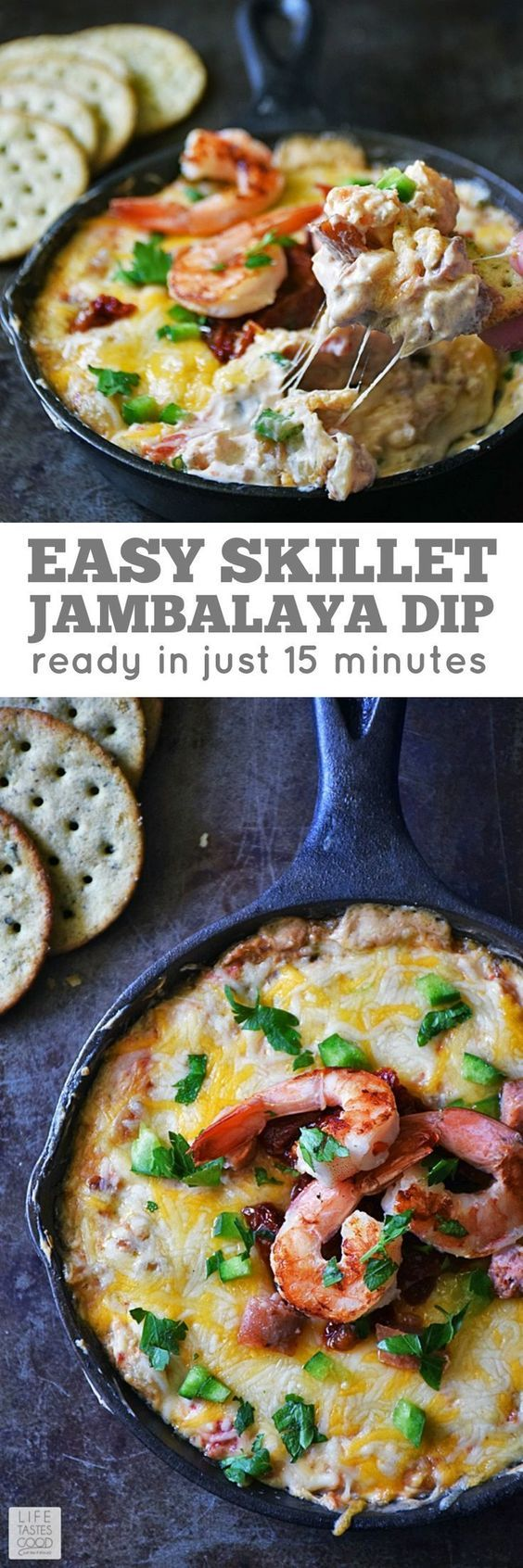 Skillet Jambalaya Dip | by Life Tastes Good is a twist on the classic Louisiana Creole Dish. Using many traditional ingredients, this recipe tastes just like Jambalaya, but is quicker and easier to make. It's also perfect for Mardi Gras, parties, game day, or just a fun snack! #LTGrecipes