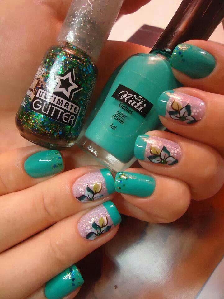 Teal french tip glitter blue green gold white flower