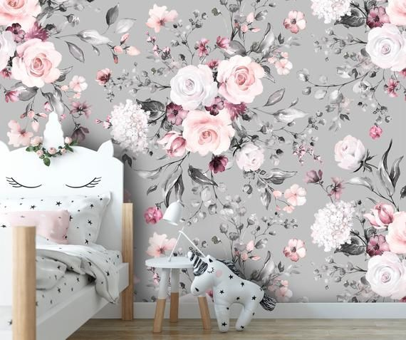 Removable Peel N Stick Wallpaper Self Adhesive Wall Etsy In 2021 Peel N Stick Wallpaper Watercolor Floral Pattern Baby Wallpaper