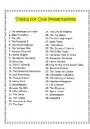000 English worksheet Topics for Oral Presentations