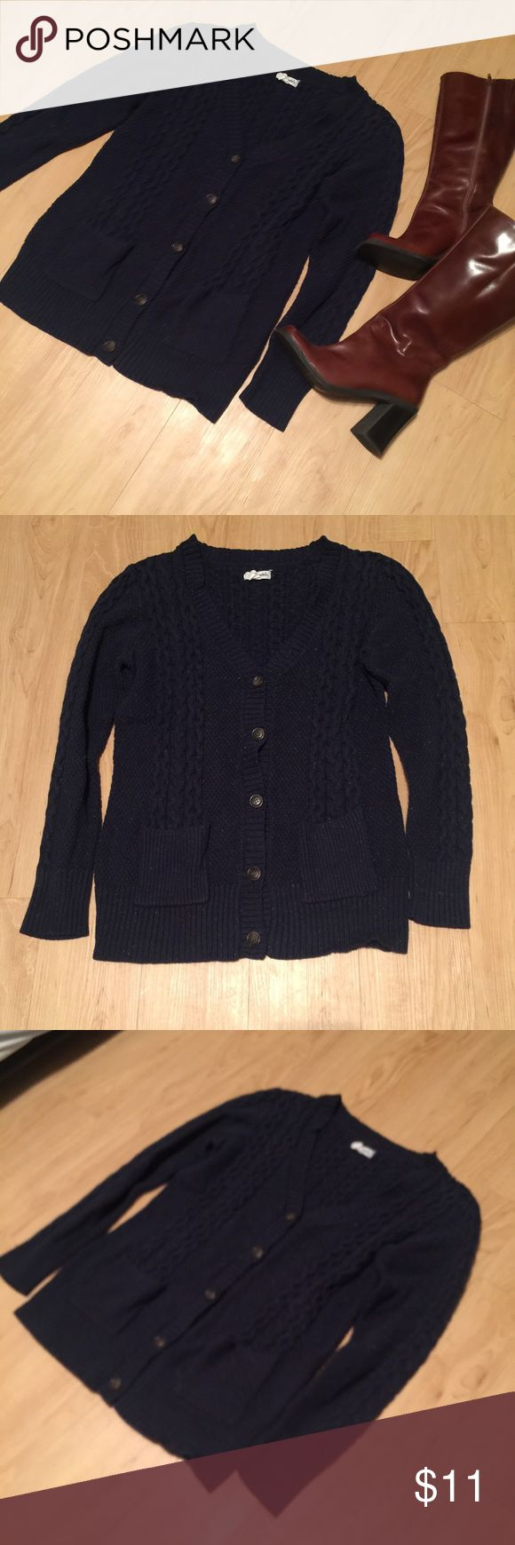 Aeropostale Navy Cardigan Sweater Warm sweater!! Size extra large. Navy color with multicolor specs. Super cute! No flaws or defects, ready to ship! Boots for sale too! Aeropostale Sweaters Cardigans