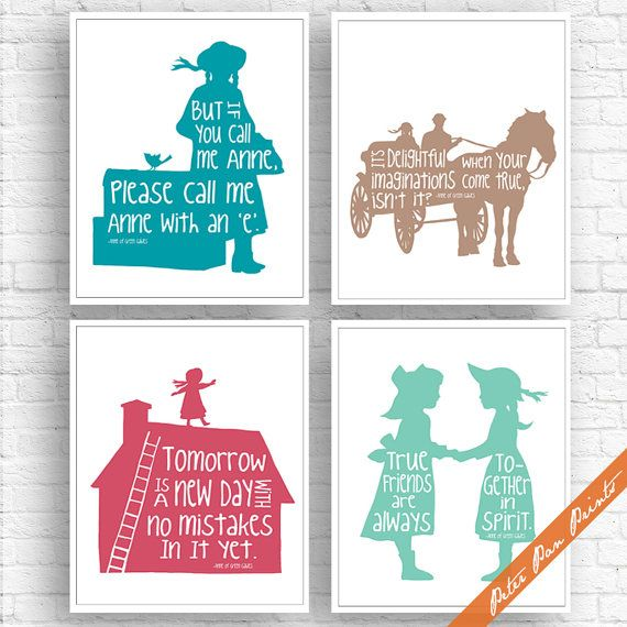 Anne of Green Gables Inspired  Set of 4 Art by PeterPanPrints