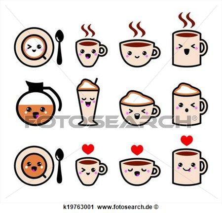 Clipart - niedlich, bohnenkaffee, kawaii, heiligenbilder. Fotosearch - Suche Clip Art, Illustration Wandbilder, Zeichnungen und Vector EPS grafische Bilder
