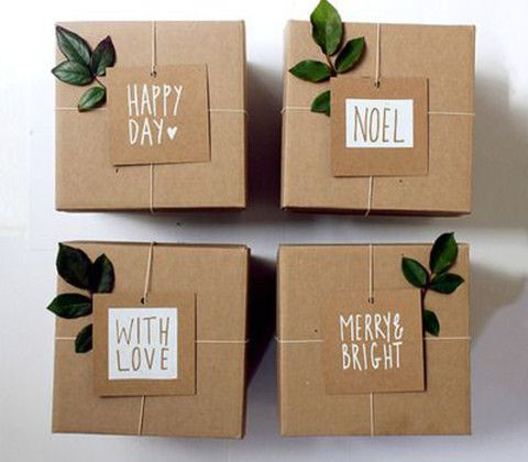 christmas xmas wrapping diy box brown paper string leaf leaves happy day