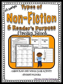 "GROUP SCOOT!Non-Fiction Genre and Non-fiction Reader's Purpose This product is part of a larger ""Let's Investigate: Non-Fiction Text Unit Bundle.  Please see link below This product, Lets Investigate Non-fiction Text Types and Readers Purpose, is a fun, quick paced way to introduce a variety of non-fiction text types to your students."