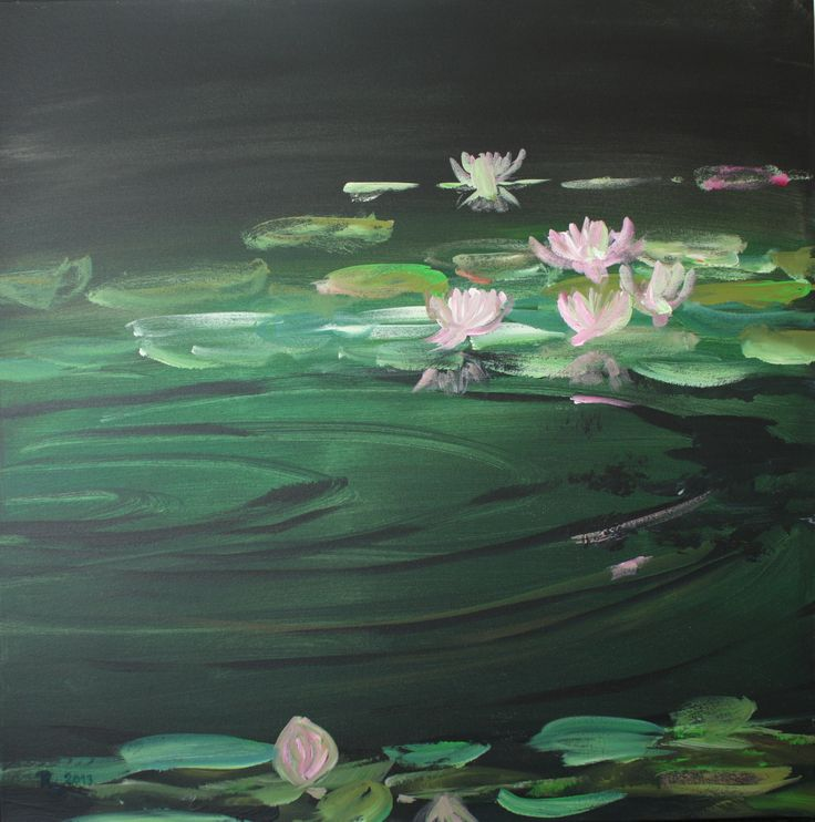 Seerosenteich, Acryl auf Lw, 80 x 80 cm, www.roswitha-schablauer.at
