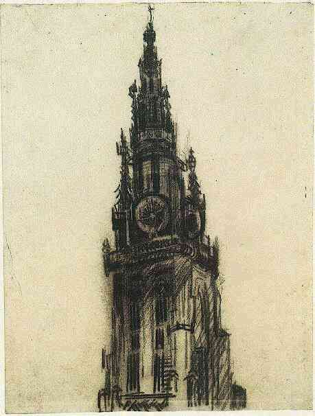 Vincent van Gogh: Spire of the Church of Our Lady, The Antwerp: mid December, 1885 (Amsterdam, Van Gogh Museum)