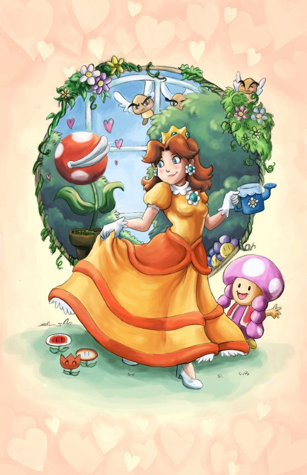 Princess Daisy in he garden. She is with Toadette, Piranha Plant and a few Para-Goombas.