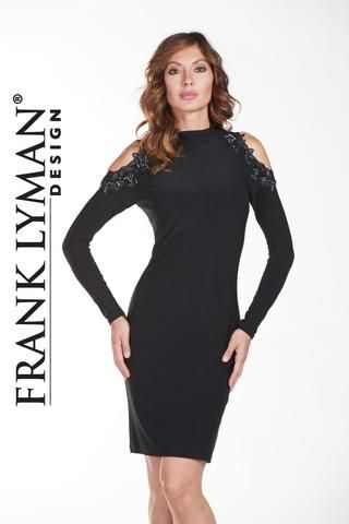 Stunning cold shoulder little black dress with beading and lace detail. Proudly Made in Canada.