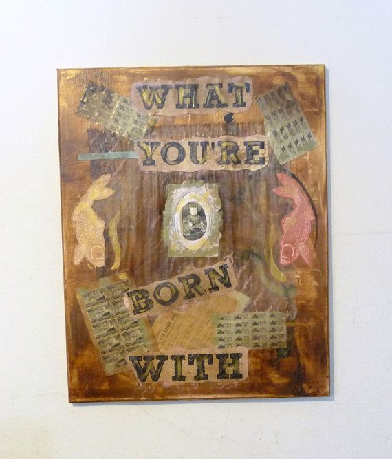 Original Mixed Media Collage With WW2 Ration Stamps, Vintage Stamp Artwork, Inspirational Quote, Sepia Painting