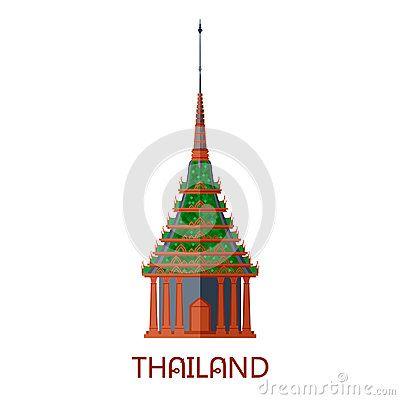 Emerald buddhist wat temple in Bangkok Thailand travel landmark vector illustration