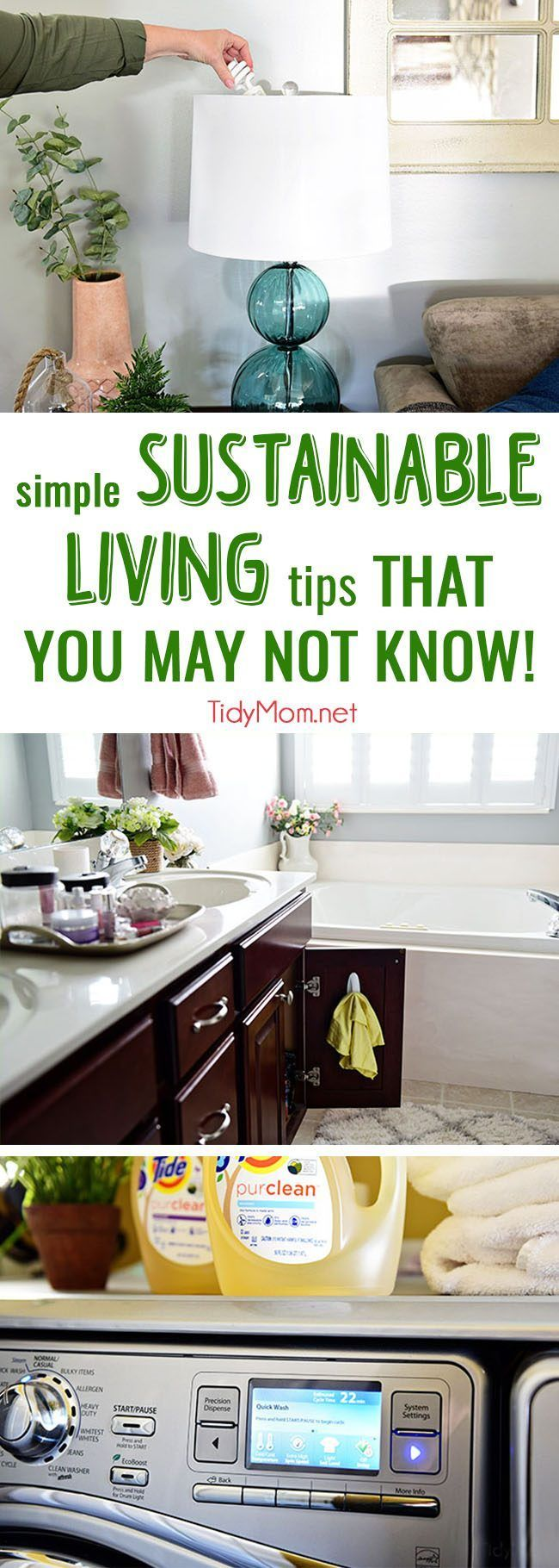 10 Simple Ways to Live More Sustainable: Sustainable living is forward thinking. It means looking ahead to making our planet better. What we can do to live green doesn't need to fit on a to-do list. We just need to to be conscious of what we are doing. Get all the tips at TidyMom.net