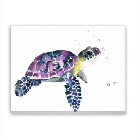 Baby+Sea+Turtle+Watercolor | Americanflat Sea Turtle Painting Print on Wrapped Canvas