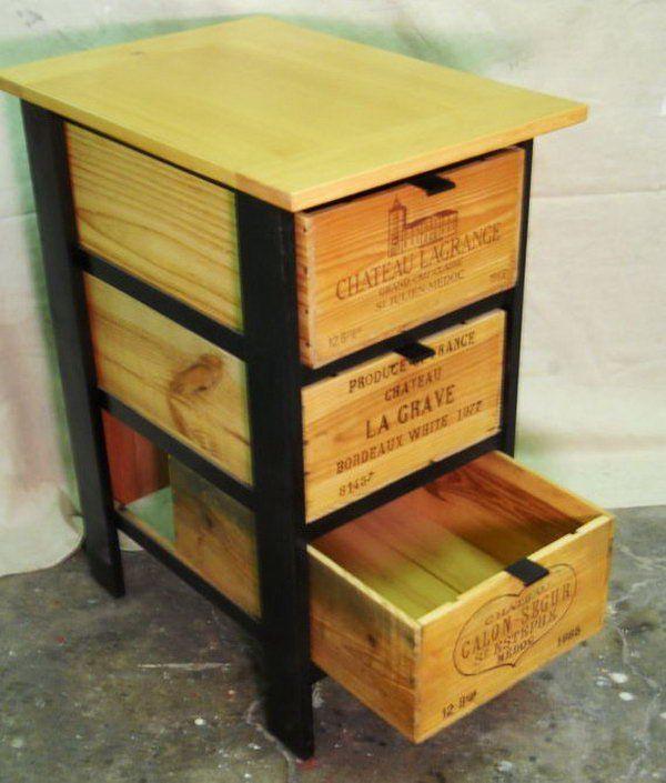 DIY wooden crate cabinet.