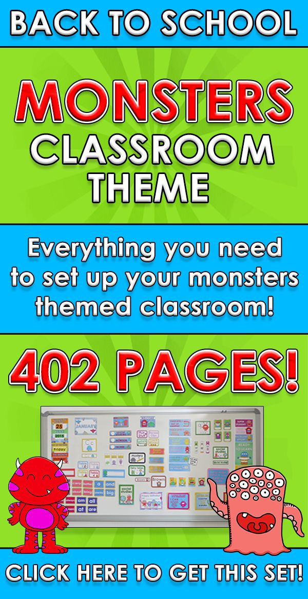 Back to School - MONSTERS CLASSROOM THEME Everything you need to set up your monsters themed classroom! Over 400 pages! $