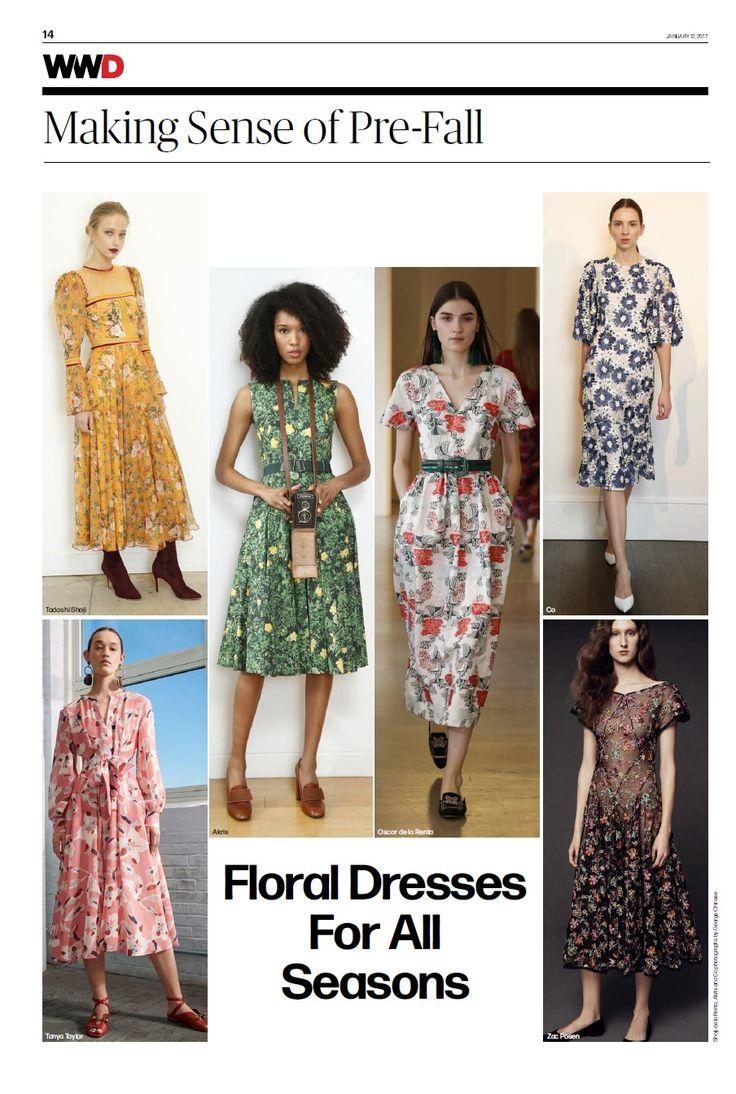 Zac Posen PF 17 floral dress in WWD Daily on 1.12.17