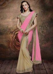 Wedding Wear Pink Lycra Embroidered Work Saree