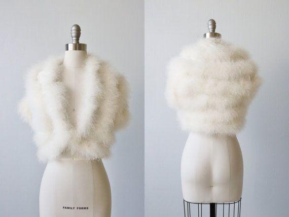 Vintage White Marabou Bolero Shrug Jacket / Bridal Jacket /