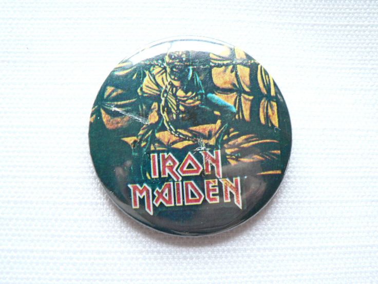 BIG Vintage Early 1980s Iron Maiden - Piece of Mind Album (1983) Pin / Button / Badge by beatbopboom on Etsy