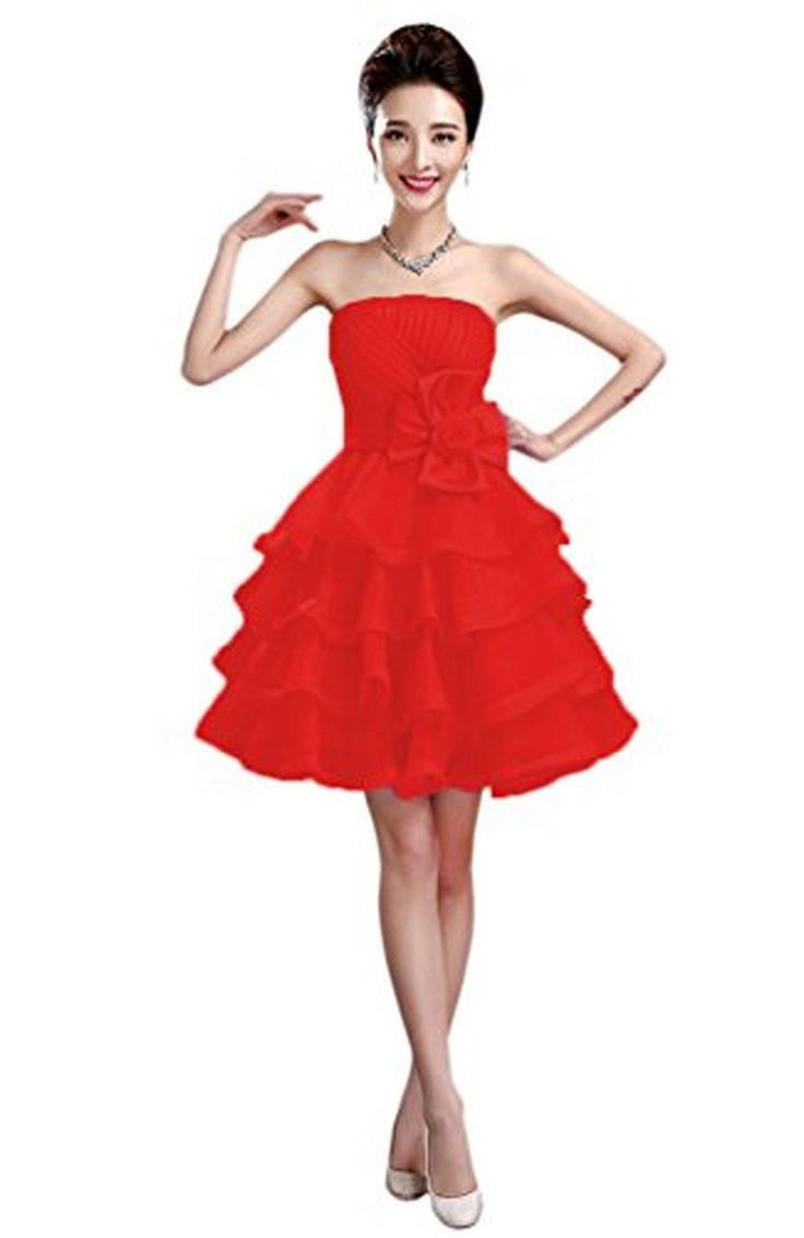 Vimans® Short A Line Red Strapless Organza Ball Gowns Wedding Dresses, 8 - Brought to you by Avarsha.com