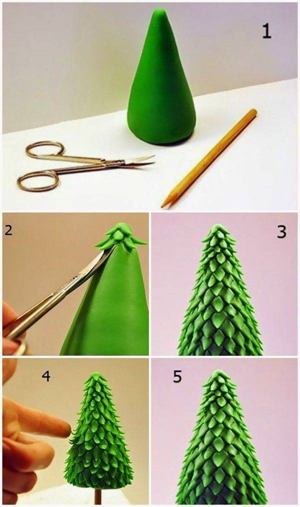 Christmas Tree Crafts - snip your own from play dough! Great fine motor exercise!