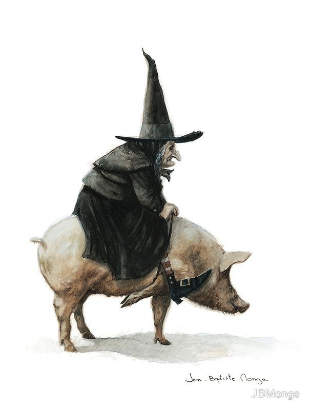 """""""Witch on a Pig"""" Greeting Cards & Postcards by JBMonge   Redbubble"""