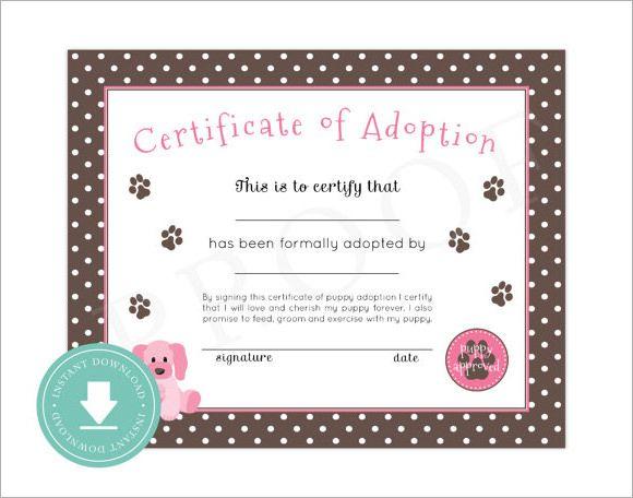15 Adoption Certificate Templates Free Printable Word Pdf