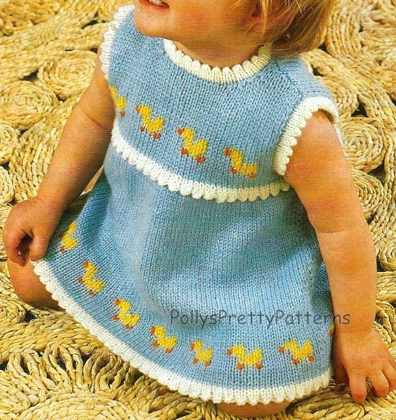 "Instant Download - PDF Knitting Pattern for Babies & Toddlers Duckling/Duck Motif Dress - 19-21"" Chests"