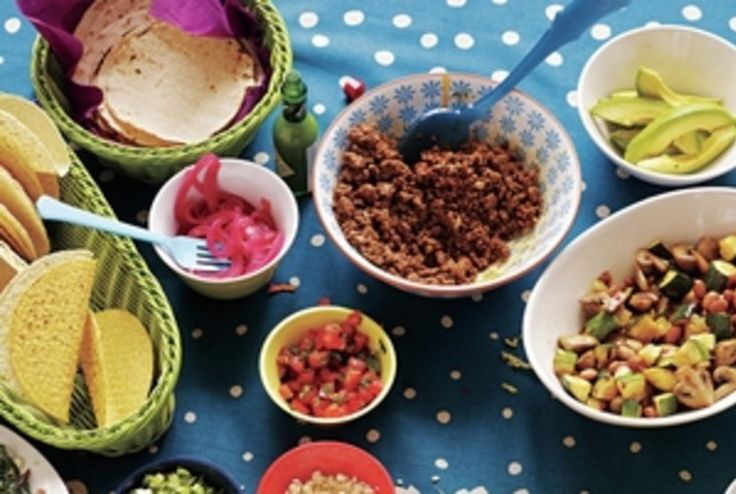 Host a DIY taco bar buffet with kid favorites and adult-friendly fixings. Get the recipes here.