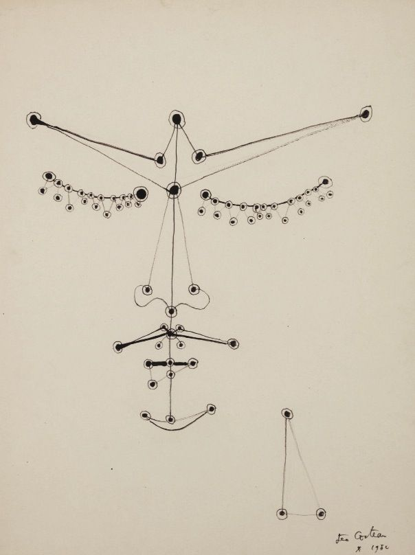 """Jean Cocteau (français, 1989-1963), """"Orphée Aux Yeux Perlés"""", 1950, encre sur papier"""