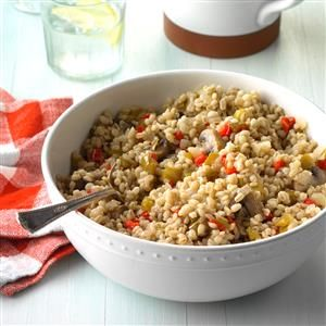 Vegetable Barley Bake Recipe -Forget the potatoes and rice, and consider this change-of-pace dinner accompaniment. I rely on wholesome barley for this heart-smart dish that complements almost any main course. —Shirley Doyle, Mt. Prospect, Illinois