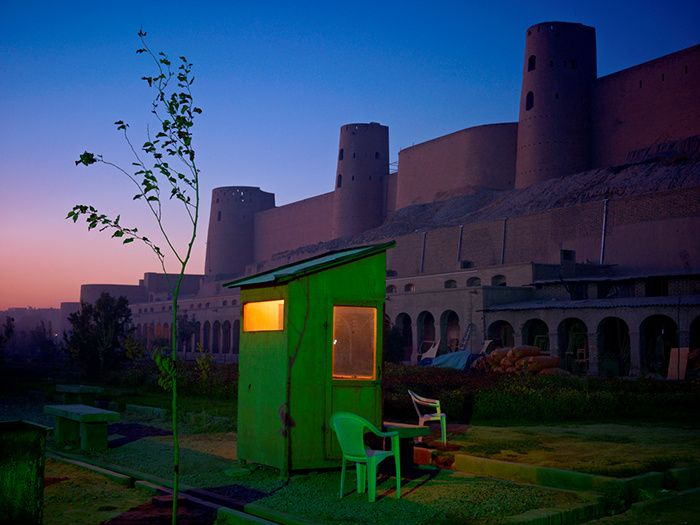 Simon Norfolk, A security guard's booth at the newly restored Ikhtiaruddin citadel, Herat, 2010-2011.