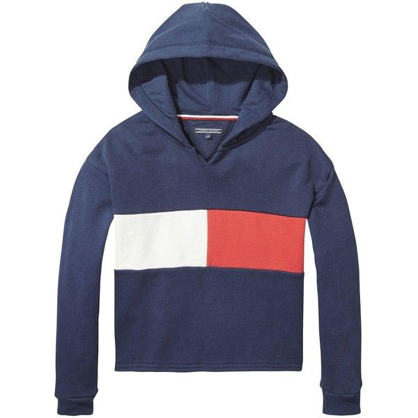 Tommy Hilfiger Girls Flag Cropped Hoodie (€56) ❤ liked on Polyvore featuring tops, hoodies, hooded pullover, hoodie crop top, tommy hilfiger hoodie, cropped hooded sweatshirt and tommy hilfiger top