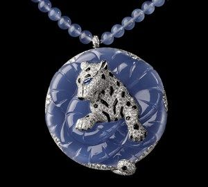 Cartier Boreal Panther Necklace - Platinum, carved chalcedony, sapphires, chalcedony beads, onyx, brilliants. PHOTO Julien Claessens & Thomas Deschamps © Cartier 2012