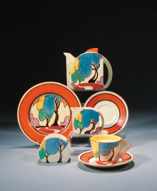 AUTUMN' A NEWPORT POTTERY PART TEASET DESIGNED BY CLARICE CLIFF, 1932