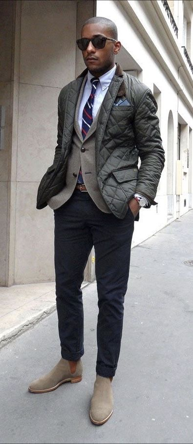 6e69062ad82 Fall business casual with a fall look featuring a green quilted jacket  brown blazer white button
