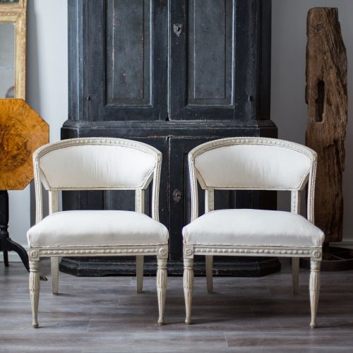 Pair of Gustavian Barrel Back Chairs love the shape of the chairs