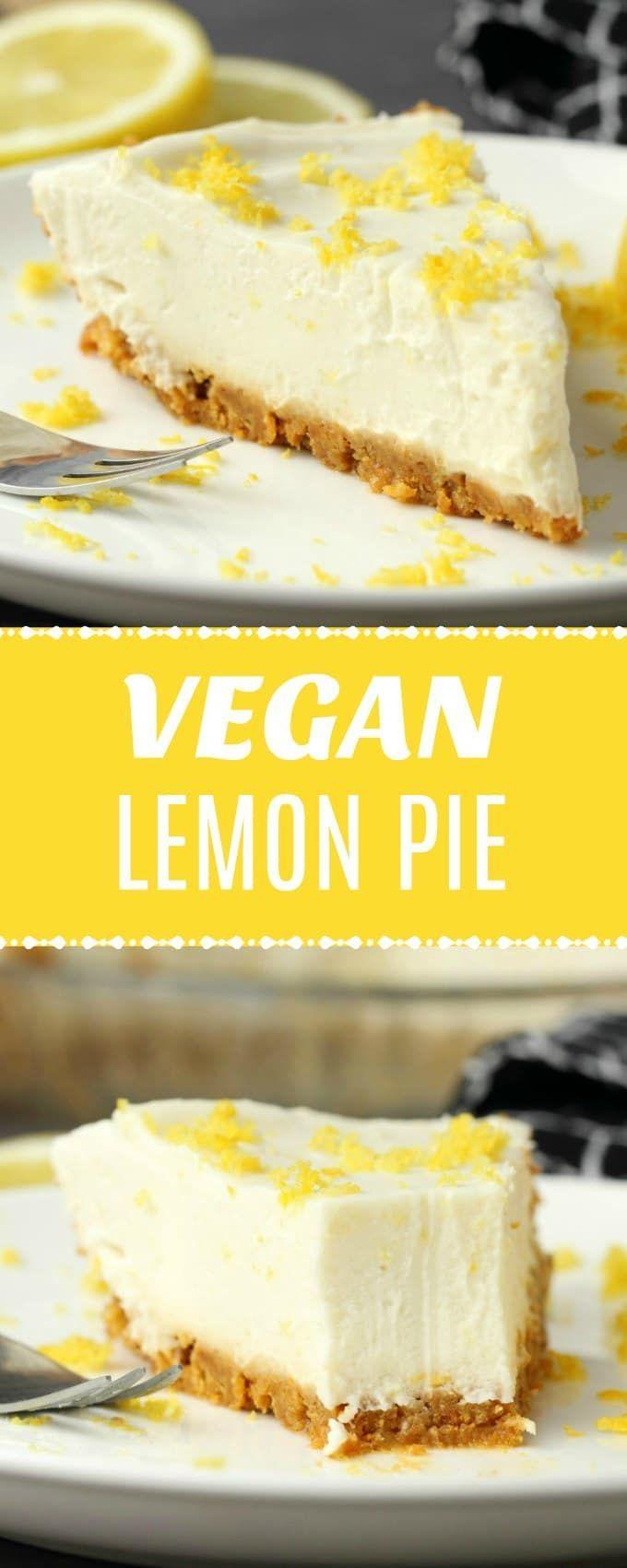 Cremige und lecker zitronige No-Bake vegane Zitronentorte mit Ingwer-Keks-Kruste…