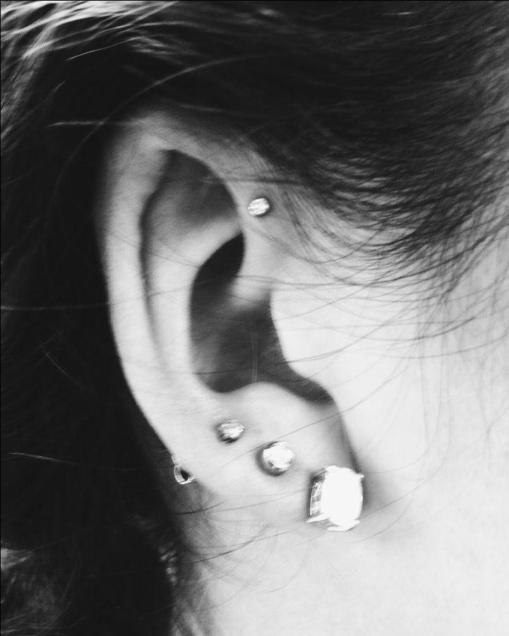 Triple earlobe and front helix- I want this, but I think I might want the helix one down a little bit farther.