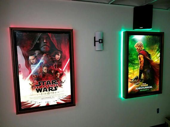 This Is A Large Frame Poster Box With A Colored Led Halo Around The Back Of The Frames Comes With White Rep Light Box Display Led Light Box Home Theater Setup